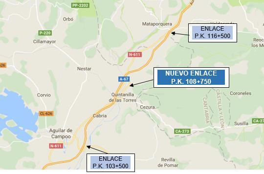 Fomento aprueba el proyecto para la construcción de un nuevo enlace en el PK 108+750 de la autovía A-67